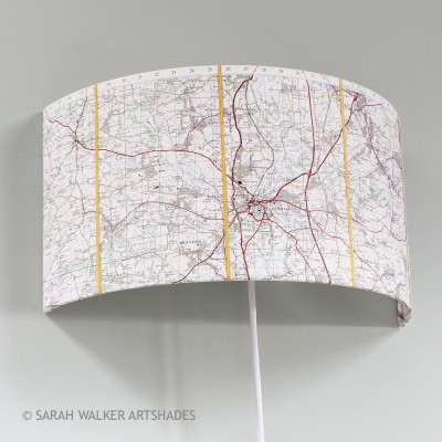 Durham OS map wall light