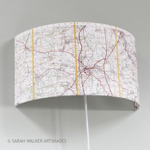 Durham OS map wall light