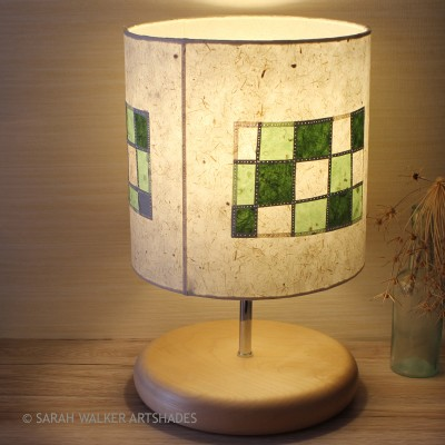 Green check drum lampshade by Sarah Walker
