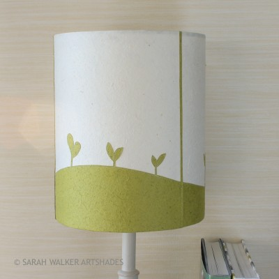 Green seedlings stitched paper shade off