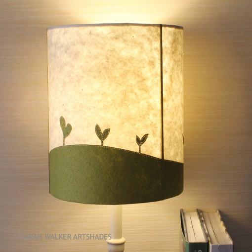 Appliqued green seedlings lamp