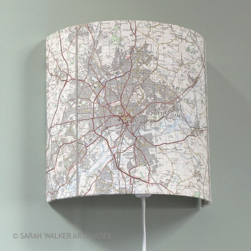 Nottingham OS map wall light