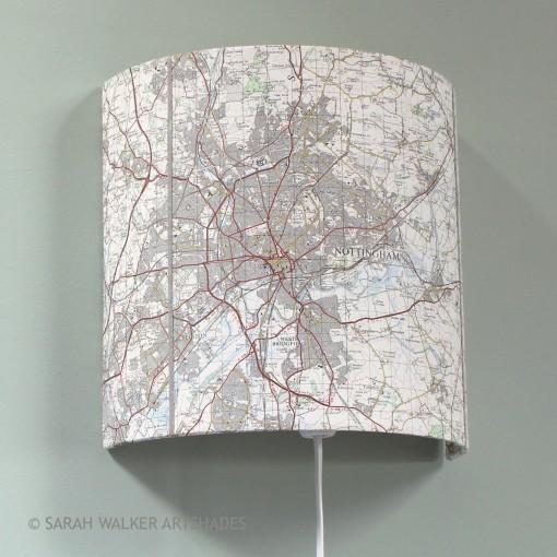 Nottingham OS map wall light