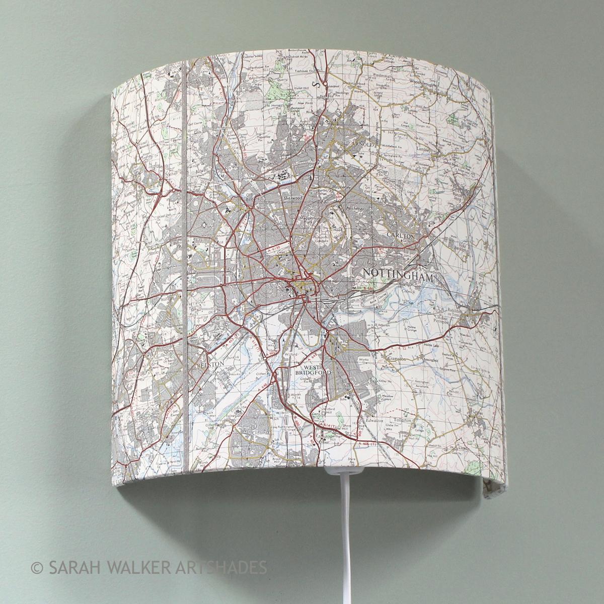 Nottingham OS Map Wall Shade
