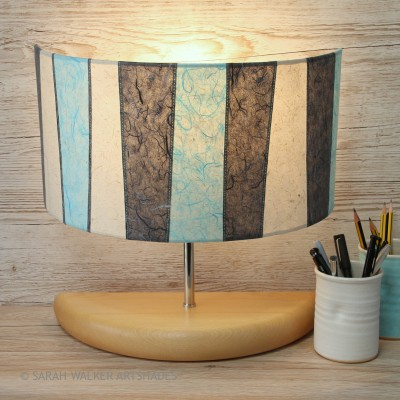 Turquoise wide half lamp on