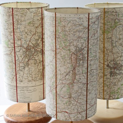 Three tall maps