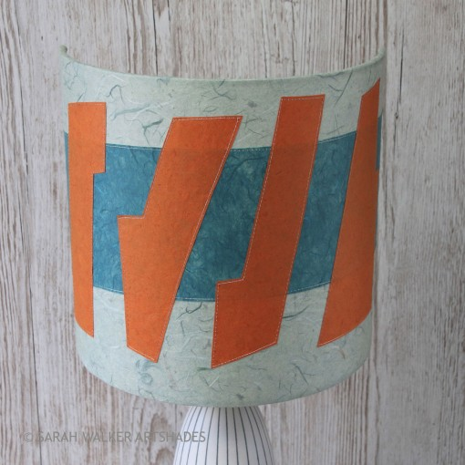 Abstract orange and teal lampshade