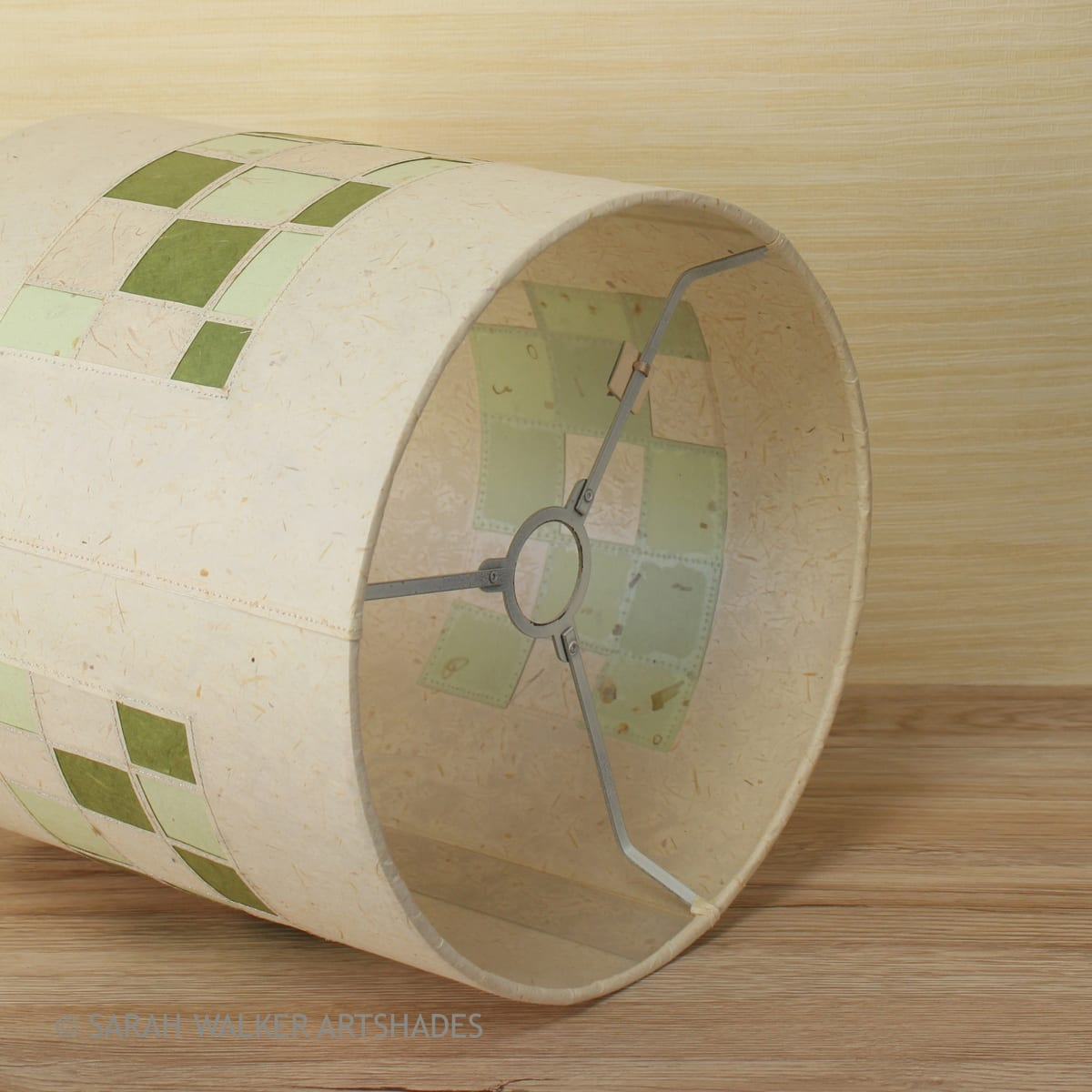 Green and cream stitched drum shade