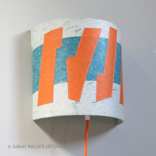 Orange and teal lampshade