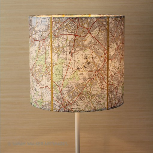 Epsom map drum shade