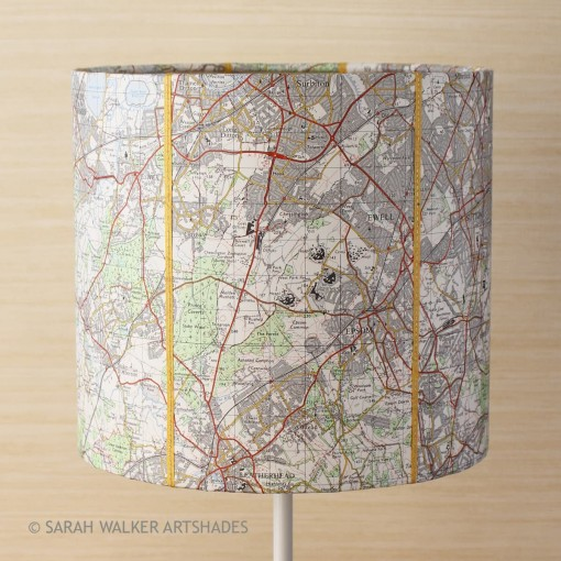 OS map lampshade Esher and Epsom detail