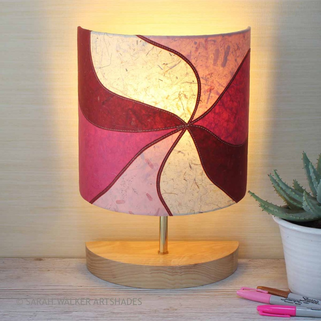 half lamp in shades of pink
