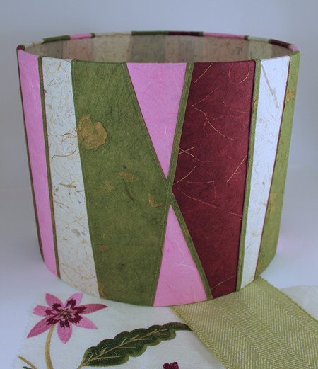 Raspberry-and-pistachio-striped-lampshade