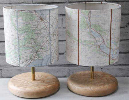 Pair-Scottish-map-lamps-wedding-present