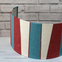 Red and teal wall-light shade