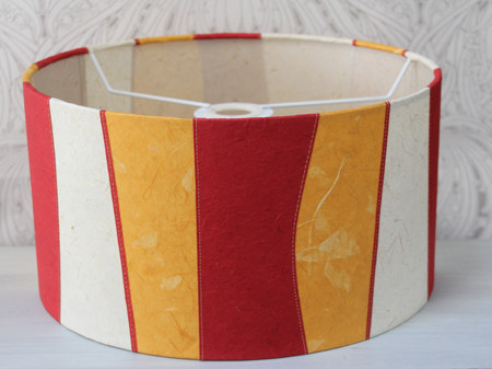 Tomato-and-mustard-striped-drum-shade