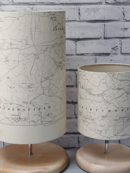 Pair-old-map-lamps