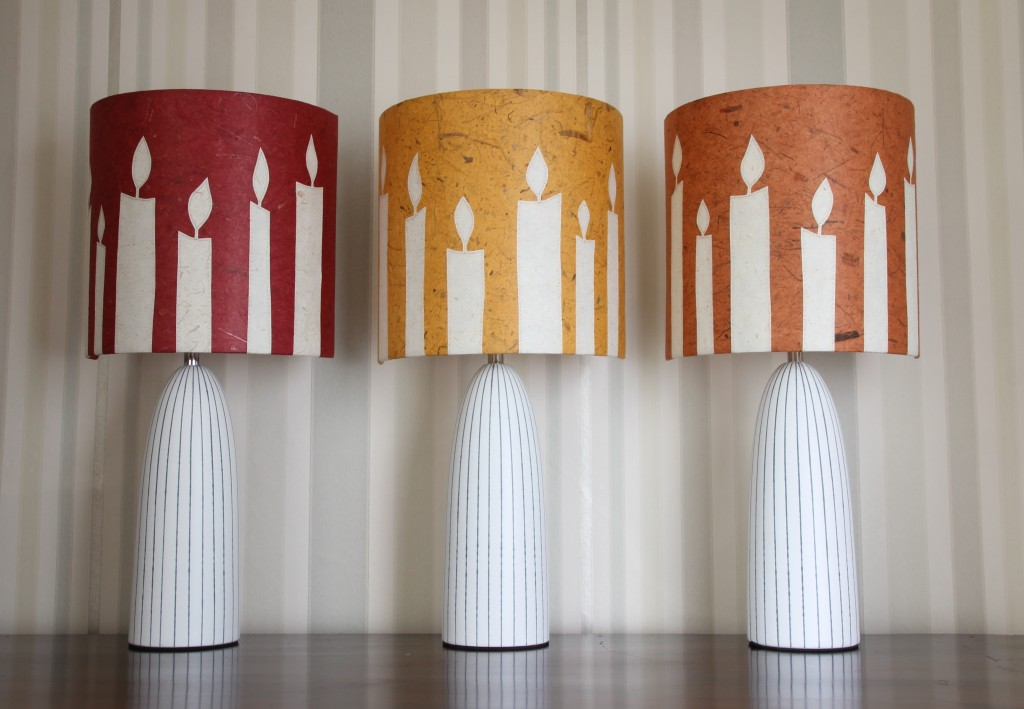 Handcrafted stitched paper lampshades