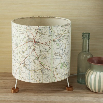 Cheltenham and Stow OS map table lamp