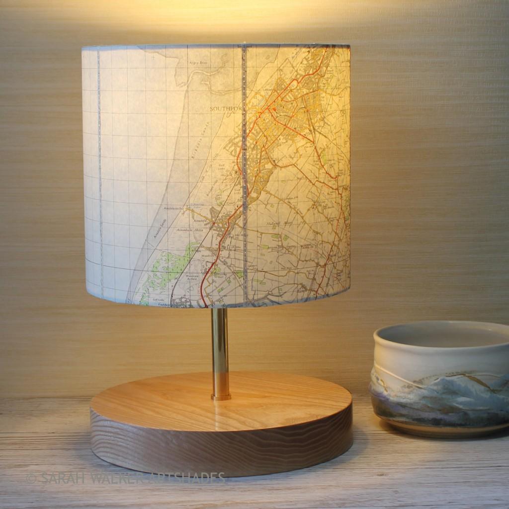 Vintage OS map lamp