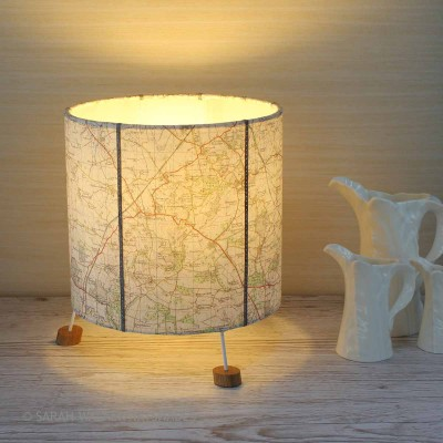 table lamp from vintage os map of Broadway