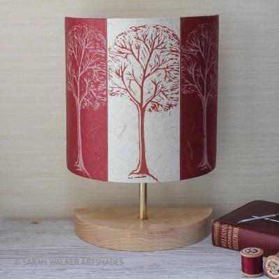 Claret linocut trees half lamp