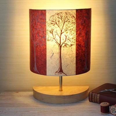 Claret linocut trees lamp