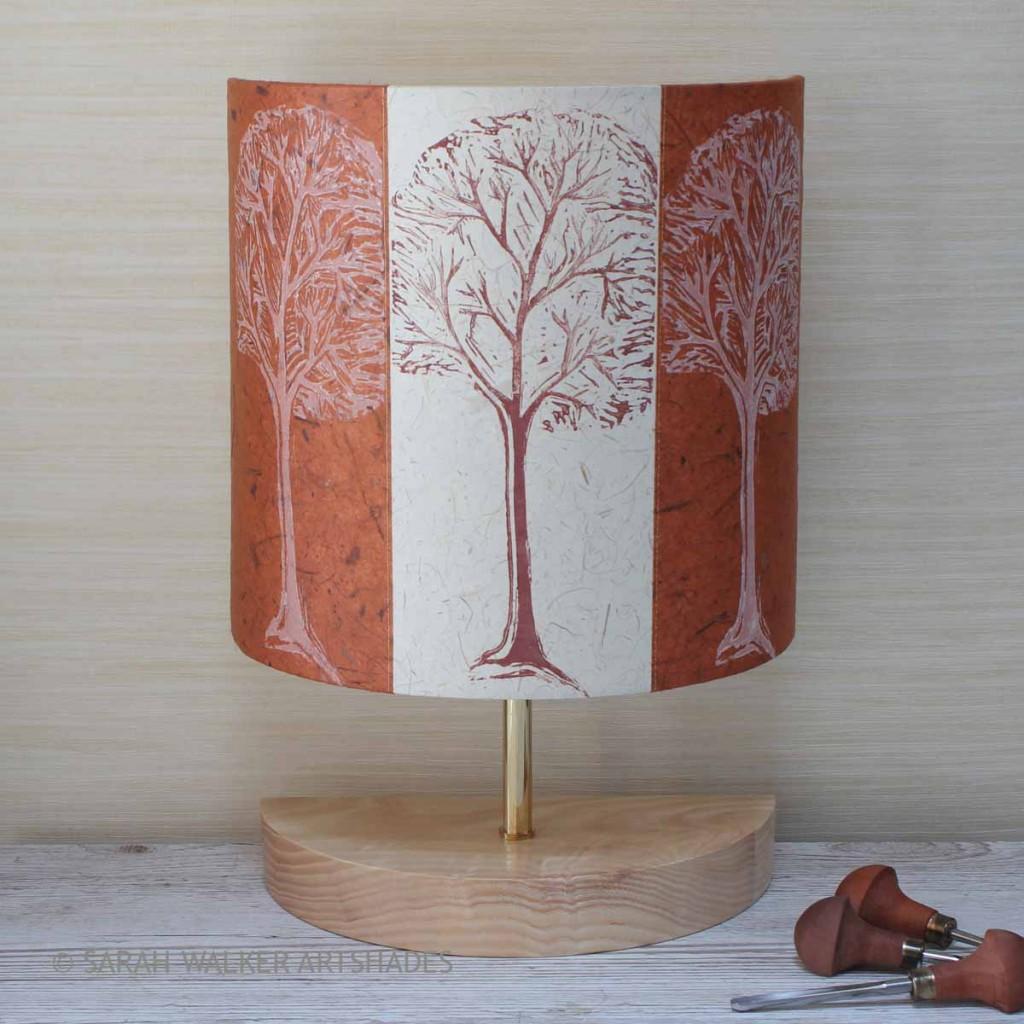 Linocut tree design lamp