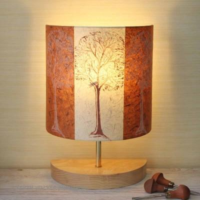 Linocut trees half lamp