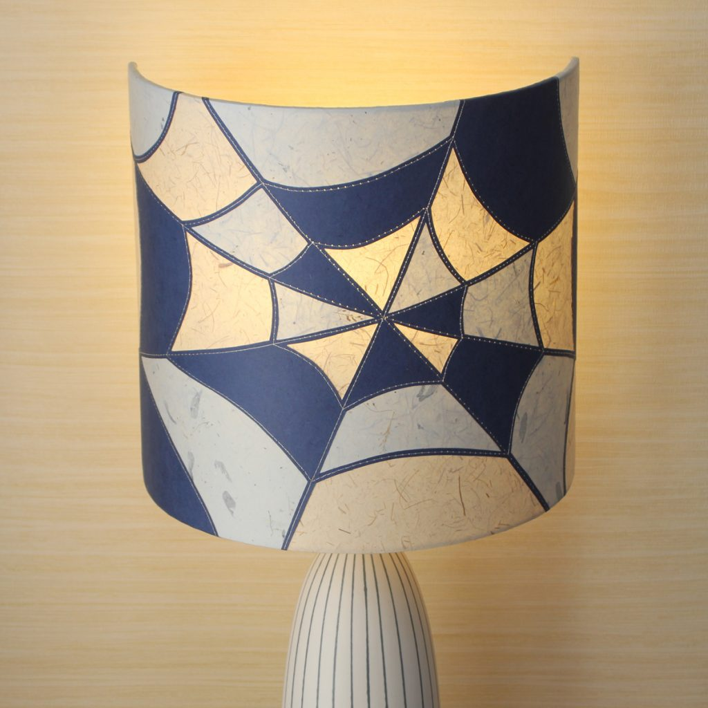 blue and white cobweb design lampshade
