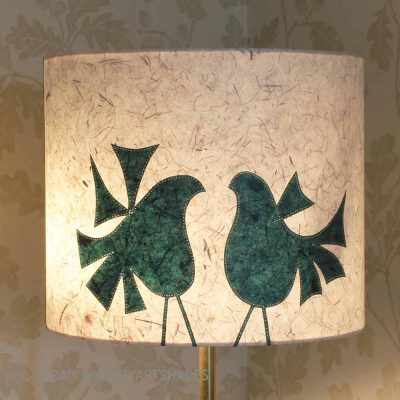 Green lovebirds floor lampshade