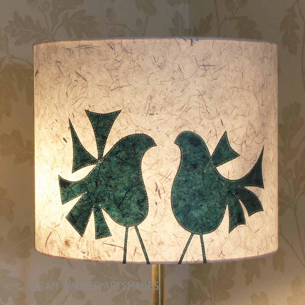 Green lovebirds floor lampshade
