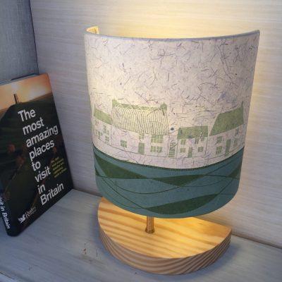 Green linocut cottages lamp