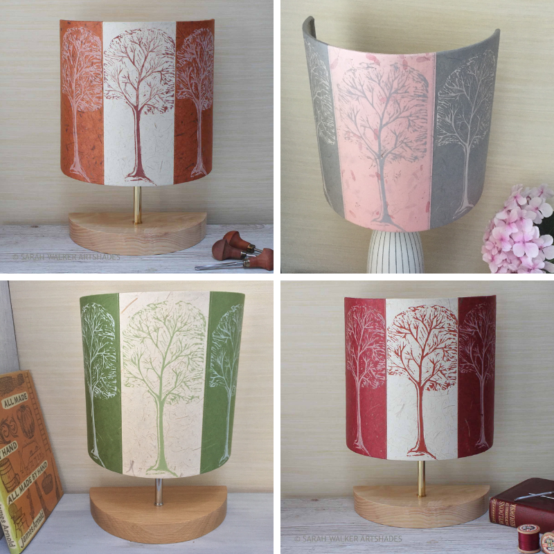 Linocut trees and applique lamps by ArtShades