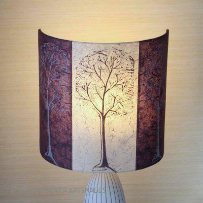 Aubergine and cream linocut trees lampshade