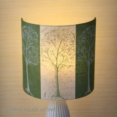 Green linocut trees lampshade