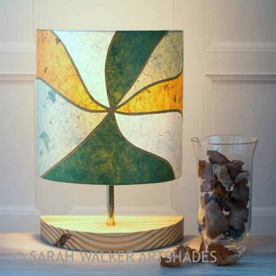 Green and mustard table lamp