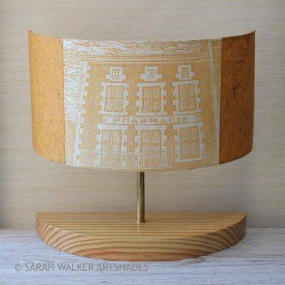 Half lamp with linocut French Pharmacie design