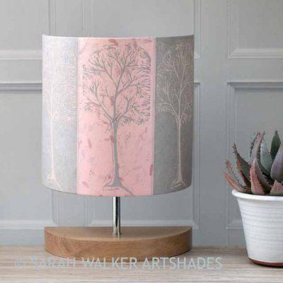 Linocut trees lamp pin and grey