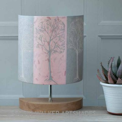 Pink Linocut Trees Lamp