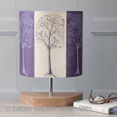 Purple Linocut Trees Lamp