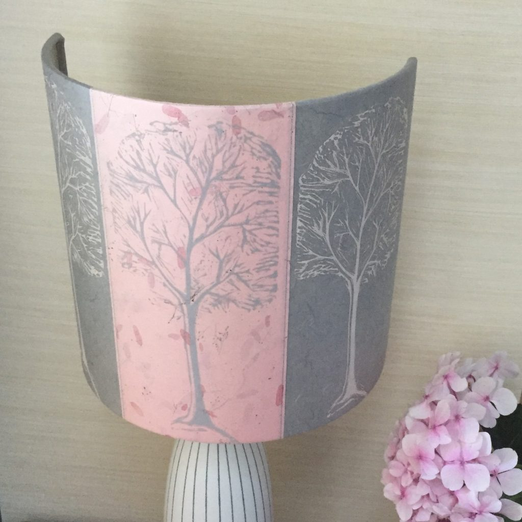Half lampshade with linocut tree design