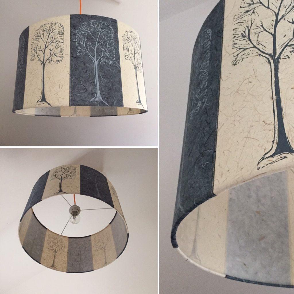 45cm drum shade linocut trees
