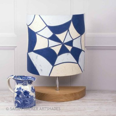 Appliqued blue and white table lamp