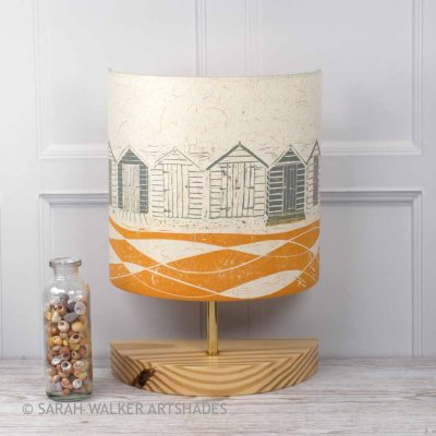 Handprinted linocut table lamp in mustard and grey