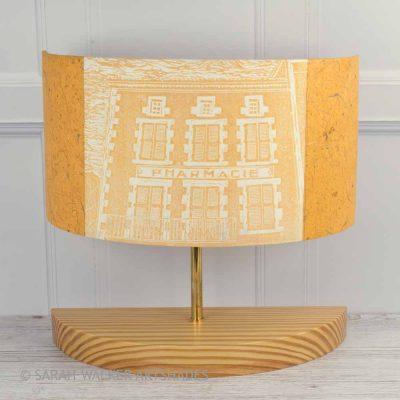 Handprinted linocut half lamp in mustard