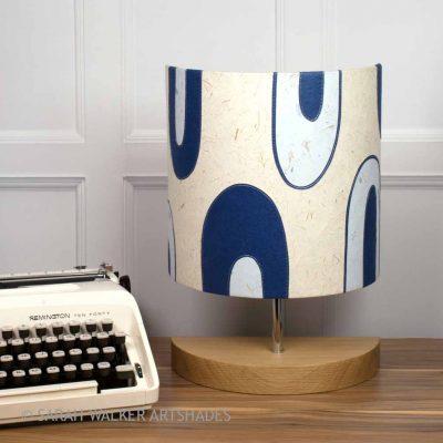Handcrafted half lamp in blue retro design