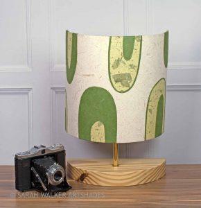 Retro style appliqued lamp in green tones