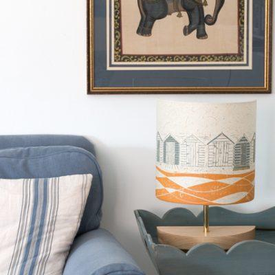 Grey and Mustard Beach Huts lamp