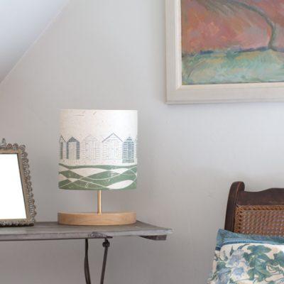 Green and Grey Beach Huts lamp